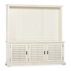 """Holstead Shutter Large TV Media Console & Hutch, Almond White - Create an entertainment center that accommodates the whole family. A handsome design in any room, our Holstead hutch has the look of an heirloom. It's roomy enough for a large TV, and pairs with our Holstead Shutter Large Media Console (sold separately). 72.5"""" wide x 13.5"""" deep x 45"""" high; 78"""" diagonal opening Spacious interior accommodates a large television. Includes cord cutout located in the middle of the back panel. Finished by hand in our exclusive Heritage Espresso stain. View our {{link path='pages/popups/fb-media.html' class='popup' width='480' height='300'}}Furniture Brochure{{/link}}."""
