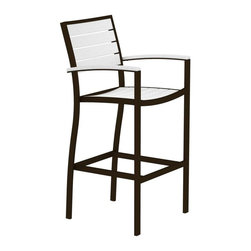 Polywood - Eco-friendly Bar Arm Chair in White - Solid, heavy-duty construction withstands natures elements. Transform your outdoor entertaining area into a five-star luxury resort with this sleek bar height chair. Polywood lumber requires no painting, staining, waterproofing, or similar maintenance. Polywood lumber does not splinter, crack, chip, peel or rot and it is resistant to corrosive substances, insects, fungi, salt spray and other environmental stresses.