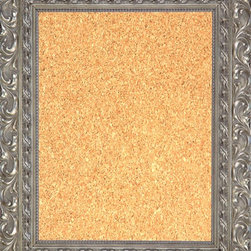 """Framed Cork Board 16"""" x 20"""" - with Ornate Antique Silver Finish Frame - 16"""" x 20"""" framed premium cork board produced to meet designer quality standards. This decorative framed bulletin boards are produced using high-precision framing techniques for a high-quality finished product with an extra thick cork surface. Our progressive business model allows us to offer these practical, yet decorative message boards to you at the best wholesale pricing, significantly less than frame shop corkboards, affordable to all. Great for office, conference room, home, kitchen, scheduling, leaving memos, to-do lists, family schedules, kid's art, photos, mementos, reminders, messages, lists, as an organizer, menu, for writing, drawing, classroom, school teacher, coaching and more. This corkboard is mounted into our 4 1/2"""" wide ornate silver finish frame by one of our expert framers. This framed pinboard comes with hardware, ready to hang on your wall, with the option of hanging horizontally or vertically.  We present a comprehensive collection of exceptional framed cork boards."""