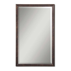 """Uttermost - Uttermost Renzo Bronze Vanity Mirror 14442 B - Frame is finished in distressed bronze with gold leaf highlights. Mirror has a generous 1 1/4"""" bevel."""