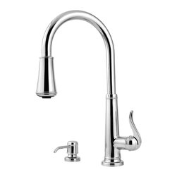 Price Pfister - Pfister GT529-YPC Ashfield One Handle Pulldown Kitchen Faucet - Price Pfister GT529-YPC is an Ashfield Series, or 4-hole kitchen pull-down faucet with matching soap dispenser. Can be mounted with deckplate for 4-hole configurations and without deckplate for 2-hole configurations. Includes adjustable spray volume control.