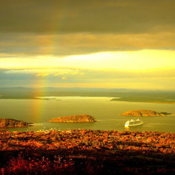PrintedArt - Rainbow Over Bar Harbor - Print is made with archival pigment inks for best color saturation and contrast with a 75-year guarantee against fading or discoloring. Mounted on light-weight but rigid aluminum dibond board to create a float-on-the-wall piece of art. Also available face-mounted with acrylic.