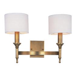 Maxim Lighting - Maxim Lighting 22379OMNAB Fairmont Natural Aged Brass Wall Sconce - 2 Bulbs, Bulb Type: 60 Watt Incandescent