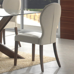 Coaster - San Vicente Collection Dining Chair in Walnut, Set of 2 - A bevelled edge lines the glass top perimeter of the dining table from the San Vicente collection. In a walnut finish, shapely pedestals offer leg room and artistic relief around this dining table. Curved in toward the table's center, these pedestals give the dining room a contemporary allure. Matching chairs come in a light gray color wrapped in a durable leather-like vinyl. Make dinner a fashionable affair around this functionally eccentric dining table.