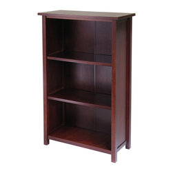 Winsomewood - Milan Storage Shelf Or Bookcase 4-tier- Medium - This spacious shelf is ideal for displaying your treasure or storage your books. Simple and elegant design is a perfect additional to any home. Add baskets to create a new function and look for the shelf. Made of combination of solid and composite wood in Antique Walnut Finish. Assembly Required