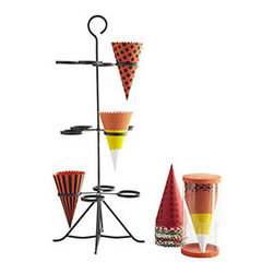 Paper Cone Tree - Fill your party cone tree with colorful cones and have a colorful and fun table spread that's also functional. It comes equipped with nine sets of different patterned cones, four in each pattern (that's 36 cones!). The designs span holidays ranging from Halloween to spring fiestas, so you'll be prepared well into Easter. Buy a few extra cone sets so you'll be ready next year too!