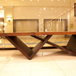 Yaya & Wenge Table - Table top made from African Yaya Fltich and Legs from African Wenge. The table is 13 1/2 feet long and 45 inches wide.