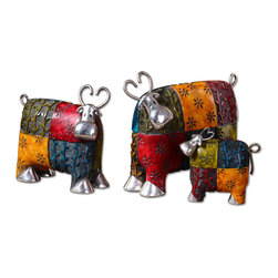 Uttermost - Colorful Cows, Accessories, Set Of 3 - These whimsical accessories are made of metal and finished in multiple tones of green, red, blue, and orange with silver plated metal accents. Sizes= Sm-5x5x2, Med-8x7x4, Lg-10x8x4
