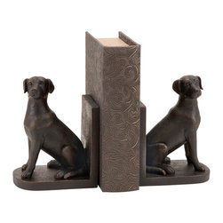 Benzara - Library Polystone Dog Bookend St 8in.H, 6in.W - Size: 8 in.  H, 6 in.  W Polystone Material