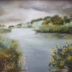 Platte River And Sunflowers (Original) by Aumi - This is a scene near my home in Wyoming which is depicting a storm over the river.  The sunflowers in the foreground balance the melancholy clouds shown in the background.