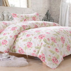 Country Cottage Pink Flower Cotton Satin Duvet Cover Set Bedding - Common Peony -