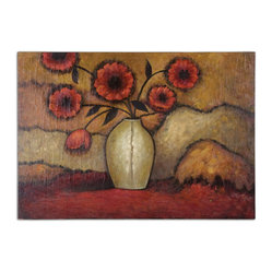 Uttermost - Red Poppies Floral Art - There's nothing like an hand-painted oil painting to bring depth and drama to your decor. This superb still life done in rich, warm tones eschews a frame for that fresh-off-the-easel appeal.