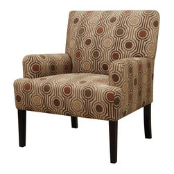 Casual Accent Chair with Arms - Crafted for casual styled furniture comfort, this piece features smooth pulled upholstery with thin track arms and slender legs.
