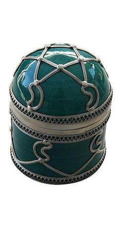 Teal Ceramic Jar with Silver Inlay -