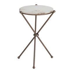 Kathy Kuo Home - Chloe Antique Brass Marble Modern Round Accent Side Table - One part Jetsons, one part high society, this accent table combines two indestructible materials to create a classy, futuristic look. Three polished, rounded brass rods crisscross to create an angular hourglass shaped base for a circular, snowy white marble tabletop. Place this lovely table in the entryway of your modern loft as a stylish stand to hold your essentials - or use in your living room as a showcase for cocktails.