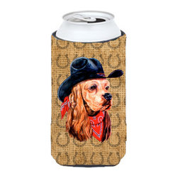 Caroline's Treasures - Cocker Spaniel Dog Country Lucky Horseshoe Tall Boy Koozie Hugger - Cocker Spaniel Dog Country Lucky Horseshoe Tall Boy Koozie Hugger Fits 22 oz. to 24 oz. cans or pint bottles. Great collapsible koozie for Energy Drinks or large Iced Tea beverages. Great to keep track of your beverage and add a bit of flair to a gathering. Match with one of the insulated coolers or coasters for a nice gift pack. Wash the hugger in your dishwasher or clothes washer. Design will not come off.