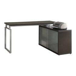 "Monarch Specialties - Monarch Specialties 7035 L Shaped Desk w/ Frosted Glass in Cappuchino - This simple yet practical ""hollow-core"" desk is the perfect addition to your home office. The capuuccino finished desk can conveniently be placed on the left or right side offering you multi functionality. The underside provides you with space to store office supplies, papers, books, files folders, and plenty more behind beautiful frosted glass doors.. Use the spacious top for your computer, a lamp and even some pictures. This large work station with fit in perfectly into any space."