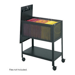 """Safco Products - Steel Mesh Tub File with Lid - Hinged cover keeps dust out while securing files. Holds letter sized hanging folders. Shelf on bottom for additional storage. Features: -Color: Black. -Caster/glide/wheel: Four casters 2 Locking casters/ swivel casters. -Document size accommodation: Letter. Dimensions: -27.5"""" H x 13.5"""" W x 24.25"""" D, 32 lbs."""