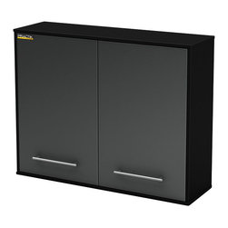 South Shore - South Shore Karbon Wall Storage Cabinet in Pure Black and Charcoal - South Shore - Garage Storage - 5227972 - This Karbon Wall Storage 3-shelf Cabinet in Pure Black and Charcoal finish part of South Shore Furnitures Practik line is especially designed for the garage or basement organization.