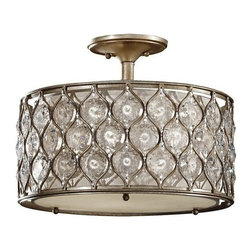 Murray Feiss - 3 Bulb Burnished Silver Semi flushmount - - UL Dry Approved.