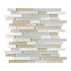10 Square Feet - Bliss Spa Random Strip Glass and Stone Mosaic Tiles