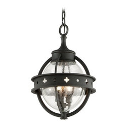 Outdoor Hanging Light with Clear Glass in Forged Black Finish -