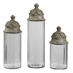 Uttermost - Uttermost 19714  Acorn Glass Cylinder Canisters, Set/3 - Clear glass cylinders topped with textured brown lids with a heavy tan glaze. not recommended for food storage. sizes: sm-6x14x6, med-6x18x6, lg-6x21x6