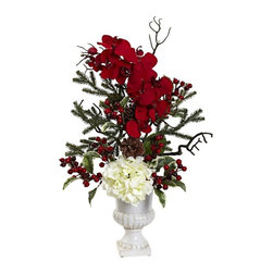 Nearly Natural - Holiday Elegance Arrangement with Urn Multicolor - 1384 - Shop for Holiday Ornaments and Decor from Hayneedle.com! Allow your living room dining room or bedroom a handsome holiday-appropriate arrangement with the Holiday Elegance Arrangement with Urn. Bursting with color this piece features white hydrangea blossoms and red orchids complemented by pine sprigs pine cones red berries and twigs. Plastic and polyester are used to great the plants ensuring an always-beautiful design that never needs watering. A beautiful white ceramic urn is included. Keep the flowers out of direct sunlight to prevent fading.About Nearly Natural Inc.For over 75 years Nearly Natural Inc. has been providing conscientious consumers with beautiful alternatives to natural decorations. Employing and advised by naturalists who understand the live plant world Nearly Natural is able to recreate the most realistic-looking decorative items for homes offices and businesses. Driven by a true commitment to customer service attention to detail and natural philosophy Nearly Natural strives to bring customers the most beautiful unique and striking faux fauna and flora on the market.