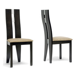 Wholesale Interiors - Casablanca Dining Chair - Set of 2 - Set of 2. Contemporary style. Microfiber seat in tan. Polyurethane foam cushion. Metal backrest inlay in silver. Stained beech veneer atop a solid beech frame. Spot clean seat. Wipe frame with dry cloth. Warranty: 30 days. Dark brown finish. Made in Malaysia. Assembly required. Seat: 18 in. W x 16.5 in. D x 19 in. H. Overall: 18 in. W x 20.25 in. D x 40.5 in. H (16 lbs.)Youll be sitting pretty once youve added our Casablanca Designer Dining Chair to your dining room.