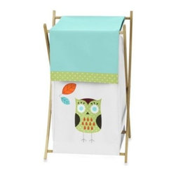 Sweet Jojo Designs - Sweet Jojo Designs Hooty Laundry Hamper in Turquoise/Lime - Complete the look of your Sweet Jojo Designs room with the brightly colored Hooty Laundry Hamper. This adorable piece includes a wooden frame, mesh liner, and a fabric cover. The wooden stand folds flat for space-saving storage.