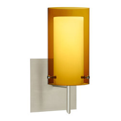 Besa Lighting - Pahu Satin Nickel One-Light Halogen Square Canopy Wall Sconce with Transparent A - - The Trans-Armagnac colored blown glass complements the soft white Opal cased glass, which can suit any classic or modern decor. Opal has a very tranquil glow that is pleasing in appearance, as the Trans-Armagnac glass sparkles with the accents from that glow. The smooth satin finish on the opal?s outer layer is a result of an extensive etching process. This blown glass combination is handcrafted by a skilled artisan, utilizing century-old techniques passed down from generation to generation.  - Bulbs Included  - Shade Ht (In): 7  - Shade Wd/Dia (In): 4  - Canopy/Fitter Ht (In): 5  - Canopy/Fitter Dia/Wd (In): 5  - Title XXIV compliant  - Primary Metal Composition: Steel  - Shade Material: Glass  - NOTICE: Due to the artistic nature of art glass, each piece is uniquely beautiful and may all differ slightly if ordering in multiples. Some glass decors may have a different appearance when illuminated. Many of our glasses are handmade and will have variances in their decors. Color, patterning, air bubbles and vibrancy of the d�cor may also appear differently when the fixture is lit and unlit. Besa Lighting - 1SW-G44007-SN-SQ