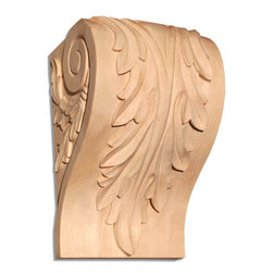 """Inviting Home - Charlotte Small Wood Corbel - Maple - wood corbel in hard maple 4""""H x 2-1/4""""D x 2-3/4""""W Corbels and wood brackets are hand carved by skilled craftsman in deep relief. They are made from premium selected North American hardwoods such as alder beech cherry hard maple red oak and white oak. Corbels and wood brackets are also available in multiple sizes to fit your needs. All are triple sanded and ready to accept stain or paint and come with metal inserts installed on the back for easy installation. Corbels and wood brackets are perfect for additional support to countertops shelves and fireplace mantels as well as trim work and furniture applications."""