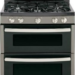 """GE - JGB850EEFES 30"""" Double Oven Gas Range with Electronic Touchpad Oven Controls  Re - The LE JGB850 30 in 68 cu ft Double Oven Gas Range with Self-Cleaning ovens in Stainless Steel provides that large capacity that is ideal for big meals A 17000 BTU Power Boil burner delivers intense heat for fast boiling The Center oval burner is ide..."""