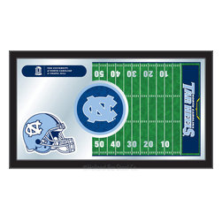 "Holland Bar Stool - Holland Bar Stool North Carolina Football Mirror - North Carolina Football Mirror belongs to College Collection by Holland Bar Stool The perfect way to show your school pride, our Football Mirror displays your school's symbols with a style that fits any setting.  With it's simple but elegant design, colors burst through the 1/8"" thick glass and are highlighted by the mirrored accents.  Framed with a black, 1 1/4 wrapped wood frame with saw tooth hangers, this 15""(H) x 26""(W) mirror is ideal for your office, garage, or any room of the house.  Whether purchasing as a gift for a recent grad, sports superfan, or for yourself, you can take satisfaction knowing you're buying a mirror that is proudly Made in the USA by Holland Bar Stool Company, Holland, MI.   Mirror (1)"