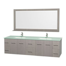 Wyndham Collection Centra 80-in. Double Bathroom Vanity Set - Gray Oak - You need lots of storage yet desire sleek, modern style, get both with the Wyndham Collection Centra 80-in. Double Bathroom Vanity Set - Gray Oak. This vanity set is made of solid hardwoods in a grey oak finish perfectly accented by brushed chrome rod pulls. Two central drawers and two sets of two shelving cupboards provide all the storage you require. Two undermount sinks, your choice of stylish countertop materials, and a matching framed mirror with shelf complete the look. About the Wyndham CollectionWyndham and the Wyndham collection are all about refinement, detailing, uniqueness, quality, and longevity. They are dedicated to the quality of their products and own the factory where each piece is constructed. This allows Wyndham to offer products that reflect the rigorous quality standards required for every piece that is offered to their customers. The Wyndham collection showcases elegant, modern design styles that highlight functionality and style in every detail.