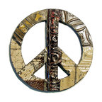 "Reclaimed Tin Peace Sign - When it comes to wall décor of the Woodstock generation or the iconic symbol of an era nothing surpasses the peace symbol. Reconnect with your inner flower child by displaying this piece of history in re-claimed tin and wood. It's tactile, easy to hang and remarkably cool again.  This line of beautifully unique products are handmade from reclaimed building materials right here in the United States. Antique ceiling tin, molding from houses and beaded board is used to create these one-of-a-kind pieces. We try to keep our products as authentic as possible yet to have certain colors available to you, there are times when our antique materials are enhanced with color. Shades vary, level of distress varies, tin patterns vary. Dimensions: Approximately 18"" diameter"