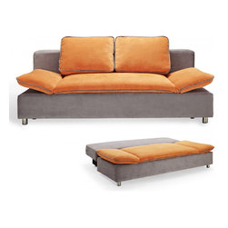 Creative Furniture - Polo Grey / Orange Ultra Soft Fabric Sofa Bed - Modern space-saving design of the Polo Sofa Bed makes it easy to fit into any living room or bedroom without sacrificing on comfort. The upholstery is ultra soft fabric finished in Grey and Orange and accented with piping along the cushions. The customizable comfort is provided by its convertible function and multi-leveled adjustable armrests.    Features: