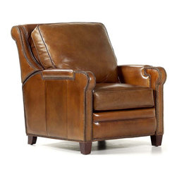 Randall Allan - Easton Recliner - When it comes to decorating your space, lazy doesn't cut it. This chair works hard to cover its recliner roots. It's wrapped in high quality cognac leather and rows and rows of nailhead trim, and easily lounges for those rainy afternoon movies and naps.