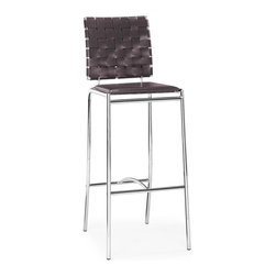 Zuo Modern - Criss Cross Bar Chair Espresso (Set of 2) - With three height choices, the Criss Cross works in any decor setting, modern or transitional. It has leatherette back straps and a flat seat with a chrome steel tube frame.