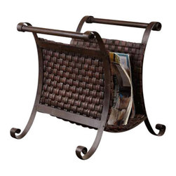 Uttermost Brunella Dark Mocha Magazine Holder - Woven straps of faux leather finished in a dark mocha brown with metal details. Stand is made of hand forged metal with woven straps of faux leather finished in dark mocha brown.