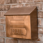 "Horizontal ""MAIL"" Wall Mount Copper Mailbox - Antique Copper - The Antique Copper finish of this wall mount mailbox lends a rustic touch to your home. This horizontal mailbox features a hinged lid and an imprint of the word ""MAIL""."
