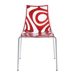 Eurostyle - Wave Chair (Set of 4) - Translucent/Red/Chrome - Recyclable technopolymer shell