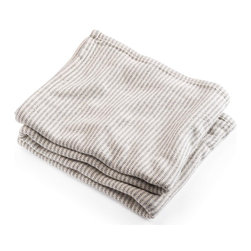 Brahms Mount - Brahms Mount - Cotton Ticking Stripe Blanket - Slate - An enduring cotton blanket style as durable as the vintage textiles that inspired it, yet so much softer. Buy directly from the manufacturer - Brahms Mount - Made in Maine, USA