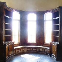 Anderson Ubuild-It - Custom built curved book cases, with radius cabinet doors on lower.