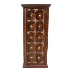 Antique Heritage Brass Accents Wood Storage Cabinet NEW - Artistic Solid Wood Corner Cabinet with three large storage shelves.
