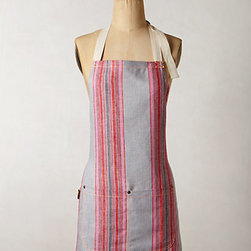 Channeled Stripe Apron - Feel pretty in pink while cooking, even on a week night!