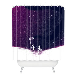 DENY Designs - Budi Kwan Starfield Purple Shower Curtain - Who says bathrooms can't be fun? To get the most bang for your buck, start with an artistic, inventive shower curtain. We've got endless options that will really make your bathroom pop. Heck, your guests may start spending a little extra time in there because of it!