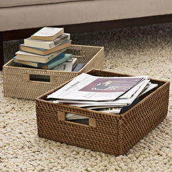 Modern Weave Harvest Baskets - Keep all your nighttime reading materials tidy and handy in these rattan boxes.