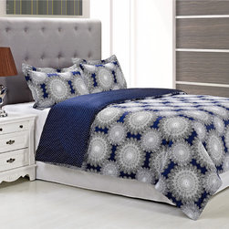 None - Casey 300 Thread Count Cotton 3-piece Duvet Cover Set - A fun white snowflake spiral design adds contemporary charm to this Casey duvet cover and sham set,crafted with rich blue cotton for comfort and style. Designed with a button closure,this duvet cover is graced with a lovely polka dot reverse.