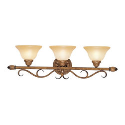 Livex Lighting - Livex Bistro 8293-57 Vanity Light - Venetian Patina - 30.5W in. Multicolor - 829 - Shop for Bathroom Lighting from Hayneedle.com! No other fixture adds a more elegant illumination to your bath area than the Livex Bistro 8293-57 Vanity Light - Venetian Patina - 30.5W in. Exuding a blend of classic aesthetics and updated charm this scroll-accented vanity fixture reinvents traditional design elements to create a piece of lighting that will enhance the aesthetics of your decor. The warm Venetian patina finish plays up the appeal of the art glass shades while three 100-watt medium base bulbs (not included) offer a warm functional glow.About Livex LightingLivex Lighting is a manufacturer and distributor of decorative residential lighting. The company was founded in 1993 and is now headquartered in a 150 000-square-foot facility in Morristown New Jersey. Livex Lighting currently offers over 2 500 products ranging from lighting fixtures for indoor and outdoor applications to lampshades chandelier shades ceiling medallions and accent furniture. The goal of Livex Lighting is to provide the highest-quality product at the most affordable price. We are constantly responding to the ever-changing needs styles and fashions of the lighting industry while always maintaining the highest standards of quality.